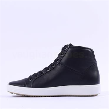 Ecco Women Soft VII Hi Top Bootie - Black Leather