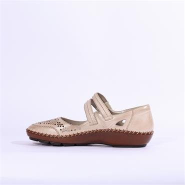 Rieker Riva Perforated Strap Shoe - Beige