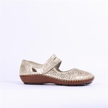 Rieker Velcro Shoe Perforated Design - Gold