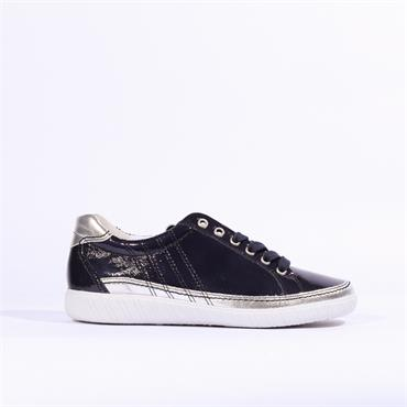 Gabor Casual Laced Trainer Amulet - Navy Patent