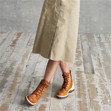 Ecco Tred Tray Side Zip Laced Boot - Tan