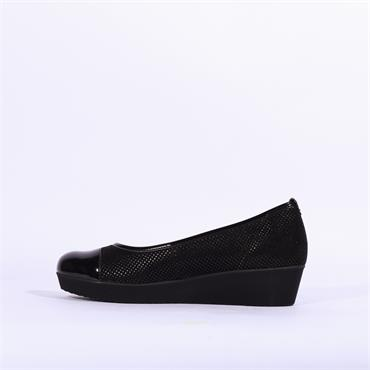 Gabor Slip On Wedge Shoe Orient - Black Pat Combi