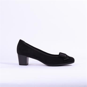 Gabor Terri Block Heel Shoe Bow Detail - Black Suede