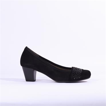 Gabor Diamante Band Suede Court Shoe - Black