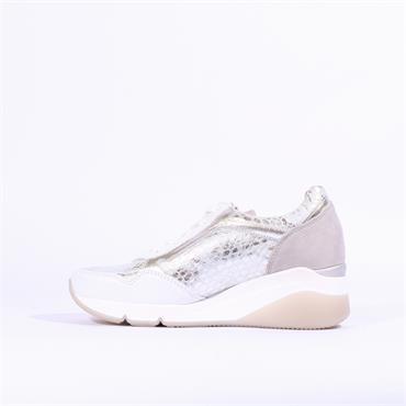 Gabor Side Zip Wedge Shoe Jessica - Silver Combi