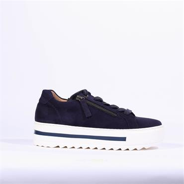 Gabor Platform Side Zip Trainer Heather - Navy Suede