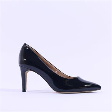 S.Oliver Pointed Toe Court Shoe - Navy Patent