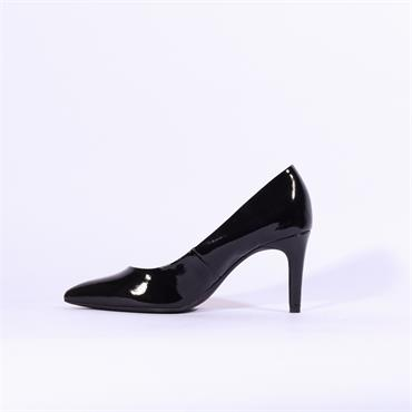 S.Oliver Pointed Toe Court Shoe - Black Patent