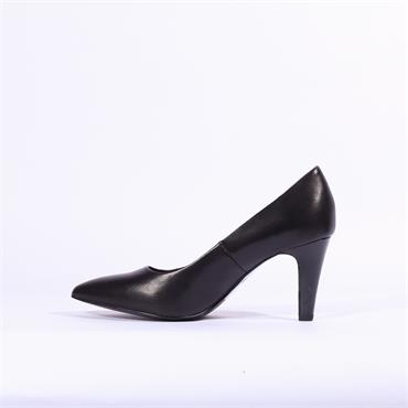 S.Oliver Pointed Toe Court Shoe - Black Leather