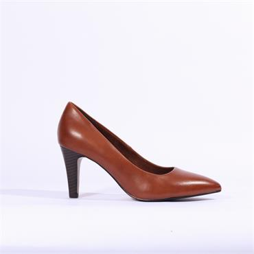 S.Oliver Pointed Toe Court Shoe - Cognac Leather