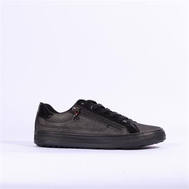 S.Oliver Casual Laced Trainer Side Zip - Black Combi