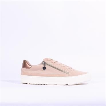 S.Oliver Casual Laced Trainer Side Zip - Rose