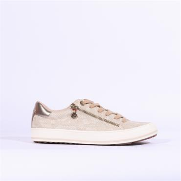 S.Oliver Side Zip Laced Casual Shoe - Champagne