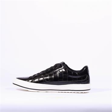 S.Oliver Side Zip Lace Trainer Regan - Black Croc