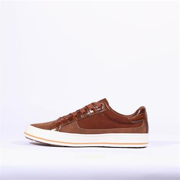S.Oliver Side Zip Lace Trainer Regan - Brown Combination