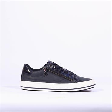 S.Oliver Side Zip Lace Trainer Regan - Navy Combi