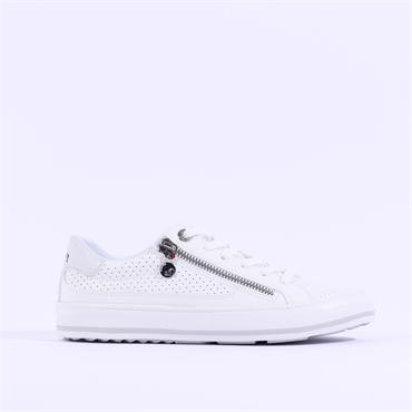 S.Oliver Regan Side Zip Lace Trainer - White Silver
