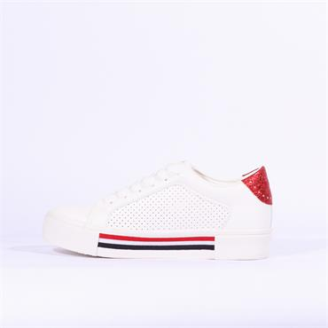 S.Oliver Lace Platform Stripe Sole Shoe - White Red Navy