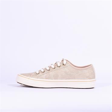 S.Oliver Casual Laced Shoe - Champagne Snake