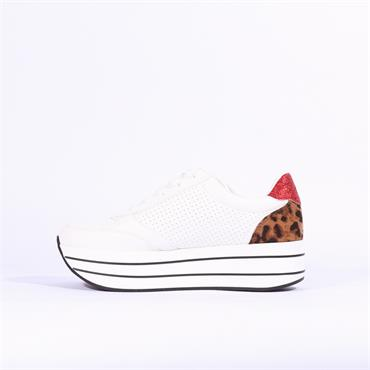 S.Oliver Platform Lace Trainer Side Zip - White Leopard