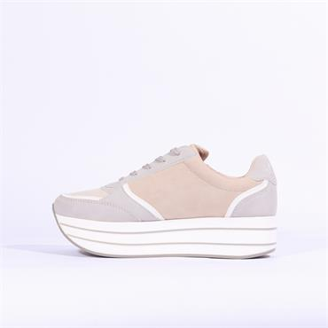 S. Oliver Platform Lace Trainer Side Zip - Grey Rose