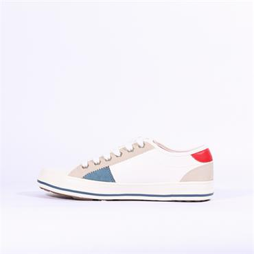S.Oliver Laced Casual Patch Trainer - Off White Combi