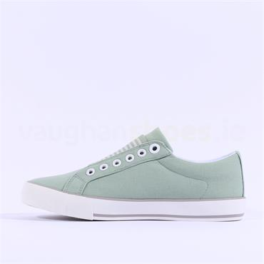 S.Oliver Motana Slip On Canvas Shoe - Light Green