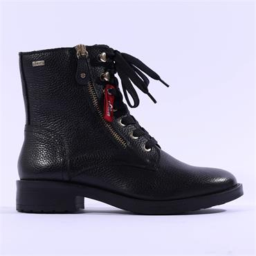 S.Oliver Tiamo Lace + Zip Military Boot - Black Leather