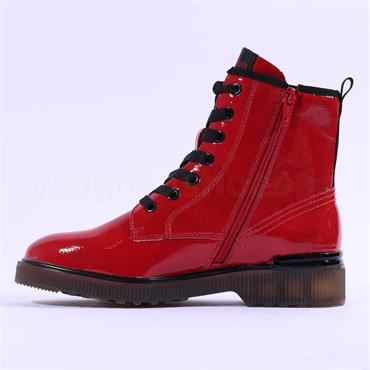 S.Oliver Yomi Patent Lace Up Ankle Boot - Red Patent