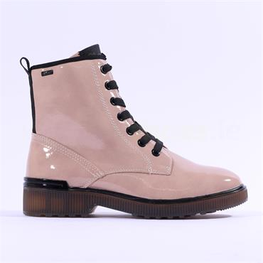 S.Oliver Yomi Patent Lace Up Ankle Boot - Soft Rose Patent