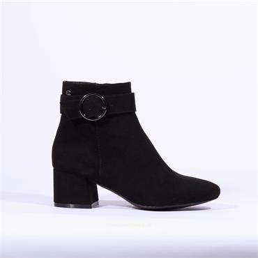 S.Oliver Block Heel Boot Ring Buckle - Black