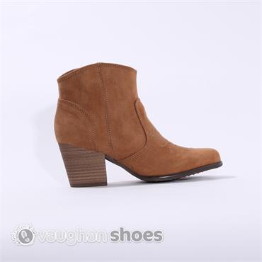S.Oliver Suede Ankle Boot Apron Design - Camel