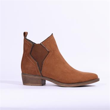 S.Oliver Ankle Boot With Detailed Gusset - Cognac