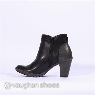 S. Oliver Side Zip Mid Block Heel Boot - Black Combi