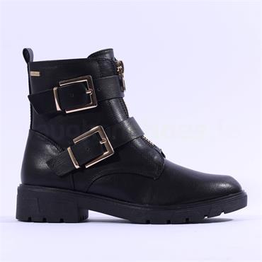 S.Oliver Elven Front Zip Biker Boot - Black