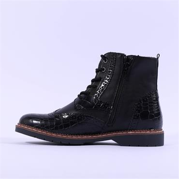 S.Oliver Ross Wing Tip Laced Ankle Boot - Black Croc