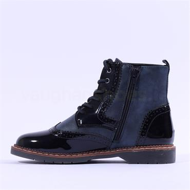 S.Oliver Ross Wing Tip Laced Ankle Boot - Navy Combi