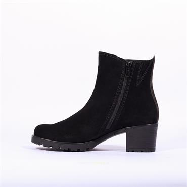 Gabor Block Heel Ankle Boot Delight - Black Suede