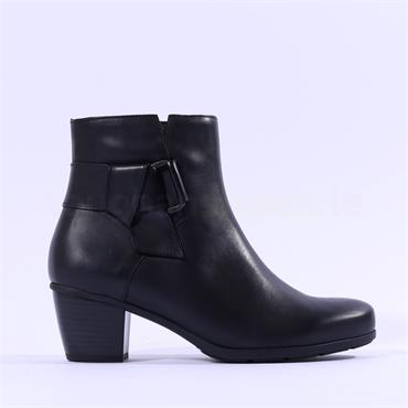 Gabor Esme Block Heel Buckle Strap Boot - Black Leather