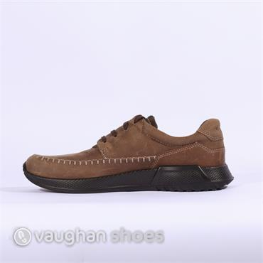 ECCO CASUAL LACED SHOE WITH STITCHING - Camel