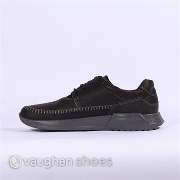 ECCO CASUAL LACE SHOE WITH STITCHING - Black