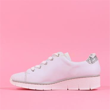 Rieker Newark Wedge Side Zip Laced Shoe - White