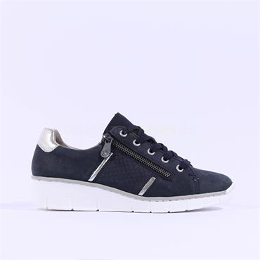 Rieker Laced Wedge Runner With Side Zip - Navy