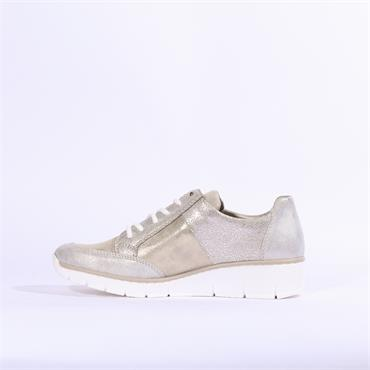 Rieker Space Laced Wedge Shoe - Metallic Combi