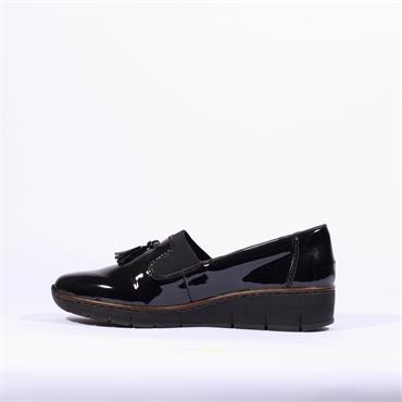 Rieker Platform Wedge Slip On Tassle - Black Patent