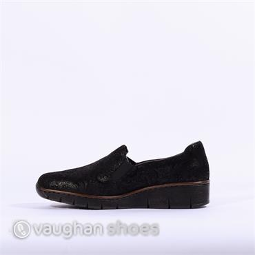 Rieker Slip -On Shimmer Detail Nobles - Black Fabric