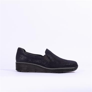 Rieker Pisa Slip On Wedge - Navy