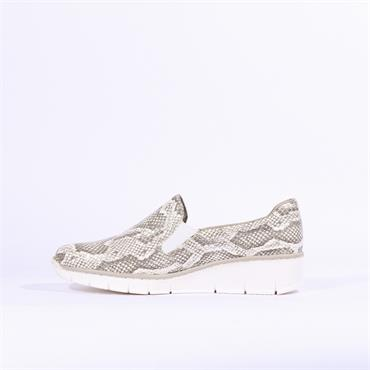 Rieker Japura Slip On Wedge - Silver Snake