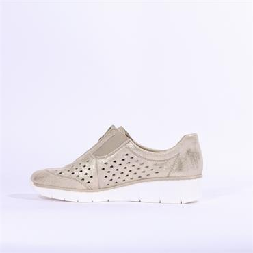 Rieker Delphi Perforated Front Zip Shoe - Beige Shimmer