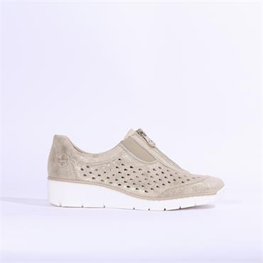 Rieker Delphi Perforated Front Zip Shoe - Beige Shimmer